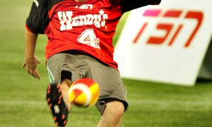 Nick Green attempts a kick during the Wendy's Kick for a Million quarter-finals at the Rogers Centre on Saturday night.