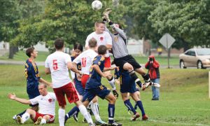 Gaels goalkeeper Marshall Peacock goes up for a ball during yesterday's 2-0 win over the Royal Military College Paladins.