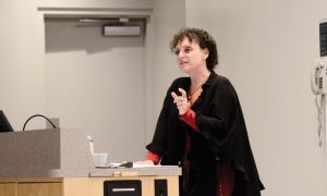 Ilana Landsberg-Lewis, executive director of the Stephen-Lewis Foundation, speaks about HIV/AIDS at the conference Friday.
