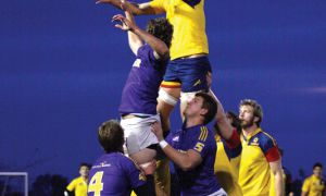 The rugby team attempts a lineout against the Wilfrid Laurier Golden Hawks at West Campus on Friday night.
