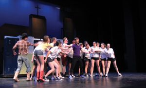The end scene of Footloose features the high school students indulging in their first legal dance.