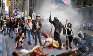 "The photo used for the event posters is titled ""Liberty Lost"" about the 2010 G20 protests."