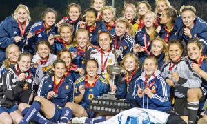 The women's soccer team celebrates its OUA gold medal in Waterloo last weekend. They beat the University of Alberta Golden Bears 2-1 in the national quarter-final yesterday.