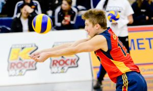 Fifth-year Niko Rukavina has been playing as a libero to avoid jumping on his injured ankle.