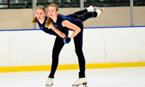 Emily Young and Gwendolyn Eadie practice their pairs routine.