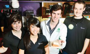 Andrew Dean (second from right), head manager of the Tea Room, with other staff members (from left to right) Sarah Ferguson, Dorothy Yu and Allister Smith.