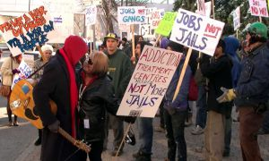 Protesters demonstrate against the Conservative crime bill in Winnipeg on Nov. 8, 2011.