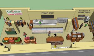 An artist's rendering of Grocery Checkout's layout in the Queen's Centre.