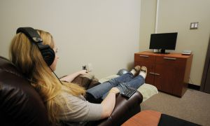 In a private room, SAGE sex lab participants watch pornographic videos and rate their levels of sexual arousal.
