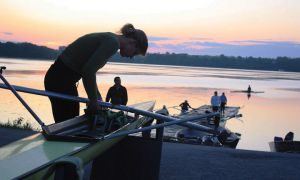 Former Gael and U.S. Olympic hopeful Isolda Penney rigs up her boat at the Kingston Rowing Club in the fall.