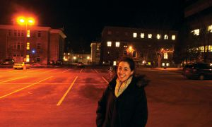 Orientation Roundtable co-ordinator Rachel Shindman, ConEd '12, stands in the Miller Hall parking lot where this year's Frosh Week concert took place.