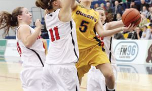 Guard Brittany Moore puts up a shot during her team's 60-42 loss to the Carleton Ravens at the ARC on Saturday night.