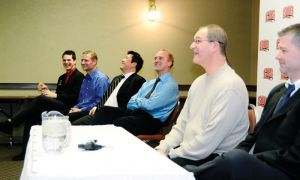 The visiting men's volleyball coaches share a laugh at the CIS tournament's opening press conference on Thursday morning.