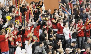 KINGSTON, Ont. (04/03/2012) - Laval fans at 2012 CIS Men's Volleyball Championship Gold Medal Game - Trinity Western Spartans vs. Laval Rouge et Or