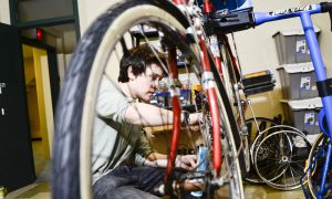 Scott Leon, ArtSci '12, is the technical director for the new bike shop in MacGillivray-Brown Hall.