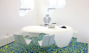 The new Human Media 'boutique' laboratory was designed by Karim Rashid for Roel Vertegaal and his research students.