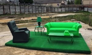 Greenroom is a living room set partially made of hollow fibreglass.