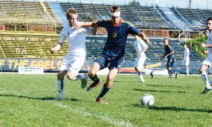 David Tom and the men's soccer team upset Toronto on the weekend.