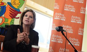 Approximately two dozen people attended Andrea Horwath's Q&A at Common Ground Coffeehouse on Friday.