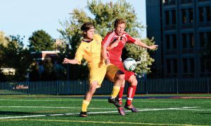 The men's soccer team currently sits in a tie for first in the OUA East division, a year after finishing fourth.