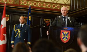 The Right Honourable David Johnston, Governor General of Canada, spoke of the generosity of two of his Queen's professors while he was a student in the sixties, at an event in Grant Hall on Saturday.