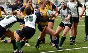 Forward Bronwyn Corrigan scored four tries in Queen's quarter-final win over Trent, recording 28 total points.