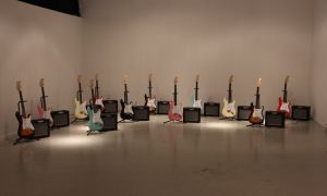 Matt Rogalsky's portion of the exhibit involved setting up 12 Fender Stratocaster guitars.