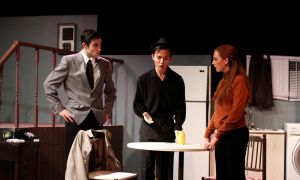 Joseph Sekine and Charlotte Boyer shone as the two leads in Wait Until Dark! The play tells the story of three con men vying to get a stuffed doll laced with heroin.