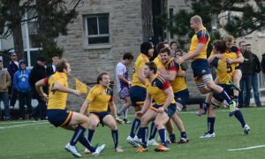 Men's rugby beat the Western Mustangs at Nixon Field to win the OUA championship.