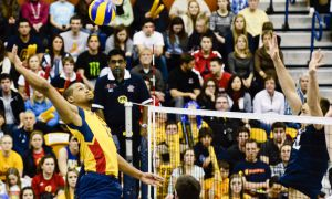 Former Gaels men's volleyball player Michael Amoroso (left) is currently playing for Orkelljunga Volley in Sweden.