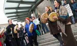 Approximately 200 demonstrators attended Friday's Idle No More rally.