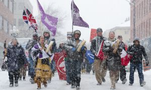 Demonstrators marched to City Hall yesterday in support of the Idle No More movement. See page 4 for the full story.