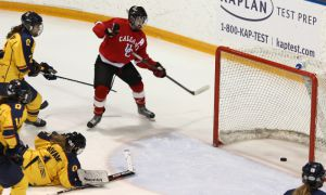Calgary scored just 2:25 into Saturday's game, eventually topping the Gaels 5-4 in overtime.