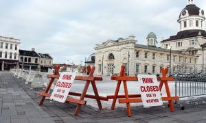 The skating rink at Springer Market Square in downtown Kingston was closed earlier this week due to warm and wet weather conditions.