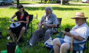 The drum circle group plays an ecclectic assortment of instruments, like cow bells and lutes.
