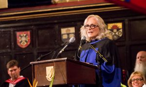 Glenn Close accepts a Doctor of Laws honorary degree from Queen's.