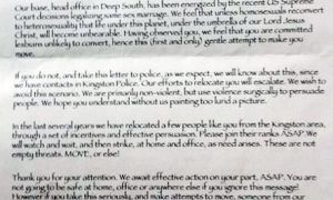 First letter received by Karen Dubinsky and her partner Susan Belyea on Wednesday.