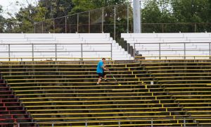 The new temporary bleachers will be in use before the Fall semester begins.