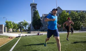 Toronto Maple Leafs centre Jay McClement (above, left) works out at Nixon Field last week. McClement, a graduate of the Junior A Kingston Voyageurs, has played eight NHL seasons with three teams.