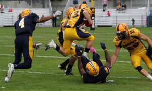Defensive back Will Zed intercepted Windsor quarterback Austin Kennedy in the fourth quarter - one of two picks from the Gaels defence on the day.