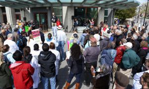 Stand up for Science rally outside of Stauffer on Monday, September 16, one of several around the country.