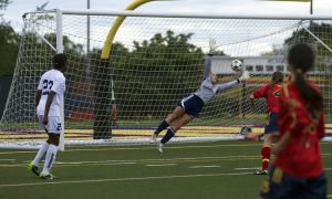 Toronto striker Aisha Lewis (#23) opened the scoring in her team's 2-1 win over Queen's.