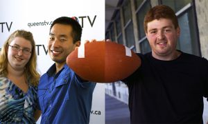 Melanie Burton and Travis Rhee (left) have presided over QTV's expanded football coverage this year, while Ben Stern (right) leads CFRC's historic broadcast.