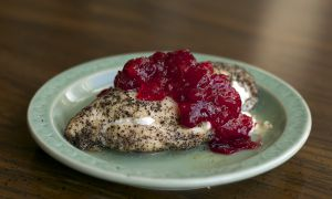 Sage spiced honey goat's cheese chicken with classic cranberry sauce.