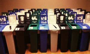 Recycling stations that will be set up in the JDUC and Queen's Centre.