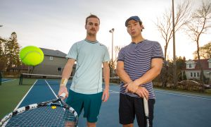 Lucas Rivet-Crothers (left) and Marshall Mackoff captain the unofficial tennis squad.