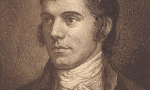 Born in Alloway, Scotland in 1759, Burns was a self-educated poet and lyricist. He enchanted Scots and others alike with his raw, passionate poetry.