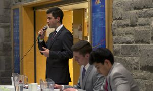 Mike Young speaking at last night's Rector debates.