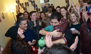 Mike Young at his election party Wednesday night. Young will be the new Rector of Queen's University.