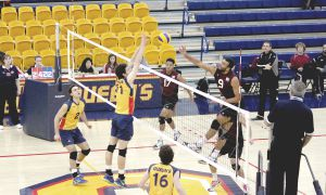 Head coach Brenda Willis praised the play of Queen's middle blockers against McMaster.